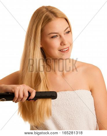 Woman Straighten Her Hait Isolated Over White Background