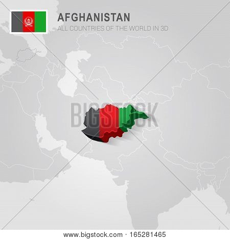 Afghanistan painted with flag drawn on a gray map.