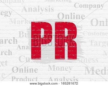 Advertising concept: Painted red text PR on White Brick wall background with  Tag Cloud