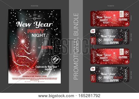 Vector New Year night party promotional bundle of poster and tickets on the dark gray and red gradient background with Christmas tree snowflakes and snowfall.