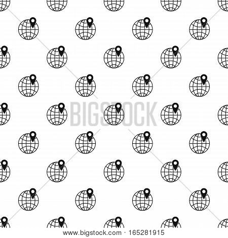 Globe and map pointer pattern. Simple illustration of globe and map pointer vector pattern for web design