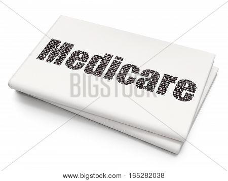 Medicine concept: Pixelated black text Medicare on Blank Newspaper background, 3D rendering