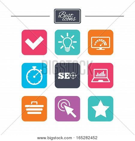Internet, seo icons. Bandwidth speed, online shopping and tick signs. Favorite star, notebook chart symbols. Colorful flat square buttons with icons. Vector
