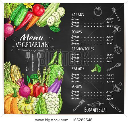 Vegetables sketch for vegetarian restaurant or cafe menu with prices. Veggies of vector corn and garlic, zucchini squash and beet, pumpkin and cauliflower, radish daikon, broccoli, bell and chili pepper, green onion leek, eggplant. Organic fresh food