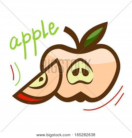 Fresh red apple with green leaf. Vector illustration.