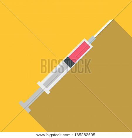 Syringe icon. Flat illustration of syringe vector icon for web