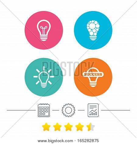 Light lamp icons. Circles lamp bulb symbols. Energy saving. Idea and success sign. Calendar, cogwheel and report linear icons. Star vote ranking. Vector