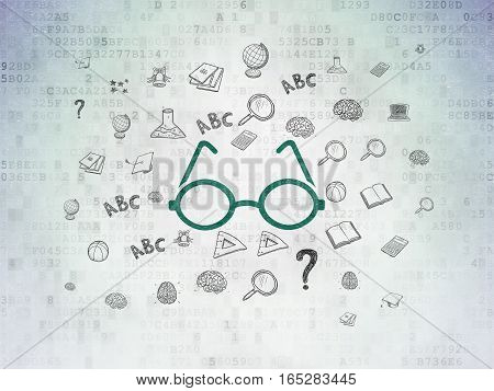 Education concept: Painted green Glasses icon on Digital Data Paper background with  Hand Drawn Education Icons
