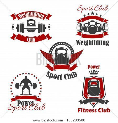 Gym sport club icons for weightlifting or powerlifting. Vector isolated icons set of iron weight barbell or dumbbell, weightlifter athlete, victory wings, crown and ribbons, badge or sign stars for fitness