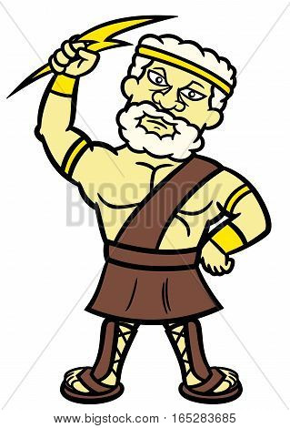 Zeus Cartoon Character. Vector Illustration Isolated on White.