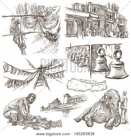 Travel NEPAL.Pictures of Life.Full sized hand drawing collection.Hand drawn illustrations.Pack of freehand sketches on white isolated pictures.Traveling around Federal Democratic Republic of Nepal.