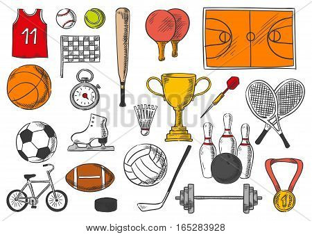 Sport icons of balls and sportive games items of tennis balls, shuttlecock and rackets, soccer football playing field, champion prize cup, basketball t-shirt, checkered flag, skates, weightlifting dumbbell barbell, hockey puck. Vector isolated sketch