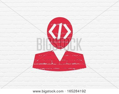 Software concept: Painted red Programmer icon on White Brick wall background