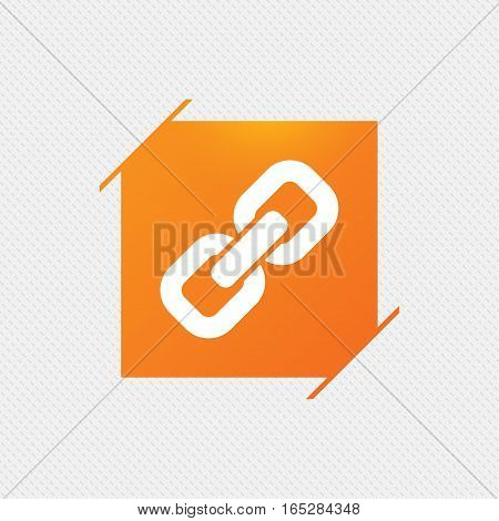 Link sign icon. Hyperlink chain symbol. Orange square label on pattern. Vector