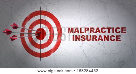 Success Insurance concept: arrows hitting the center of target, Red Malpractice Insurance on wall background, 3D rendering