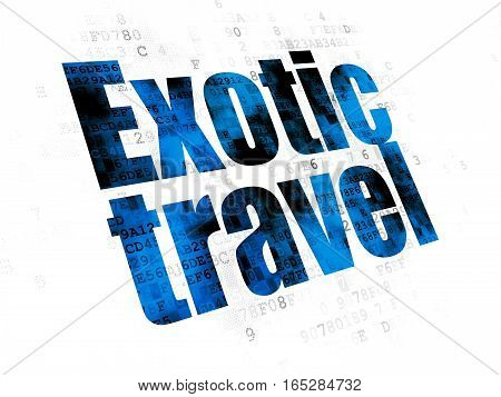 Vacation concept: Pixelated blue text Exotic Travel on Digital background