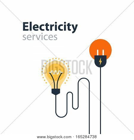 Electrical services and supply icons, energy saving concept, electricity connection graphic elements. Flat design vector illustration