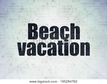 Vacation concept: Painted black word Beach Vacation on Digital Data Paper background