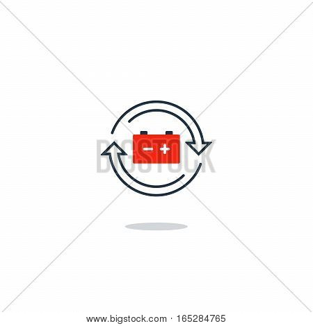 Electricity graphic elements, electric battery charge concept, auto accumulator icon, energy efficiency. Flat design vector illustration