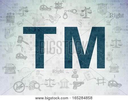 Law concept: Painted blue Trademark icon on Digital Data Paper background with Scheme Of Hand Drawn Law Icons