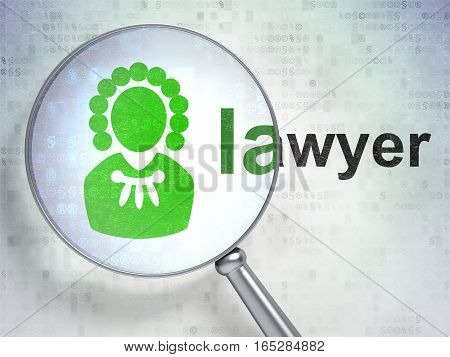 Law concept: magnifying optical glass with Judge icon and Lawyer word on digital background, 3D rendering