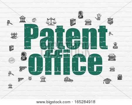 Law concept: Painted green text Patent Office on White Brick wall background with  Hand Drawn Law Icons