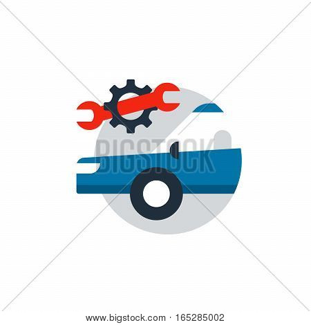 Blue car in a circle with wrench and gear wheel. Auto car repair services, diagnostic concept, insurance policy, mechanic works. Flat design vector illustration