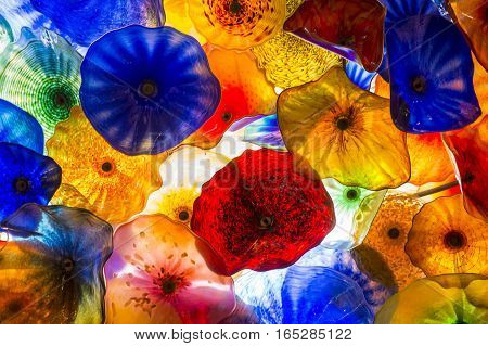 LAS VEGAS - NOV 08 : The Hand Blown Glass Flower Ceiling at the Bellagio Hotel on November 08 2016 in Las Vegas. It is comprised of 2000 glass blossoms by glass sculptor Dale Chihuly