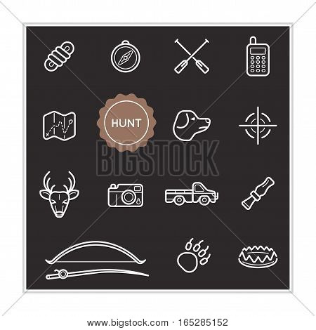 Set of Outdoor Hunting Vector Illustration Elements can be used as Logo or Icon in premium quality