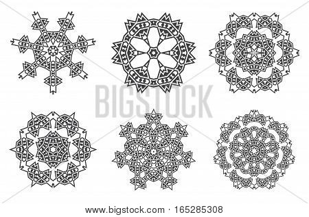Ethnic Fractal Mandala Vector Meditation looks like Snowflake or Maya Aztec Pattern or Flower too Isolated on White