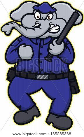 Elephant Police Officer Cartoon Illustration Isolated on White