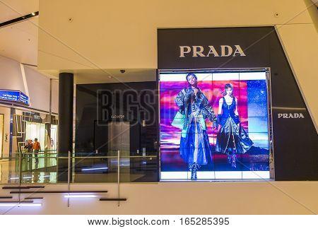 LAS VEGAS - NOV 08 : Exterior of a Prada store in Las Vegas strip on November 08 2016. Prada is an Italian luxury fashion house founded in 1913 in Milan.