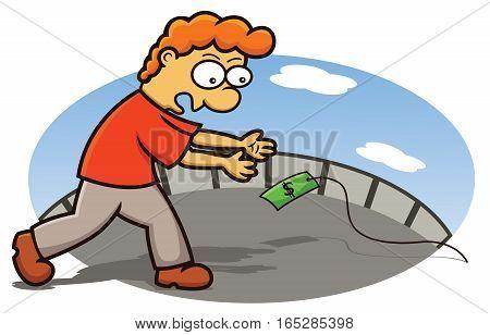 Funny Man Chasing Money Trap Cartoon Illustration