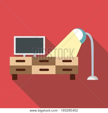 TV and lamp icon. Flat illustration of tv and lamp vector icon for web