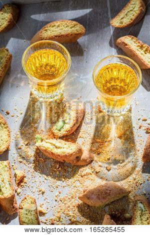 Italian Cantucci With Pistachios And Vin Santo Wine