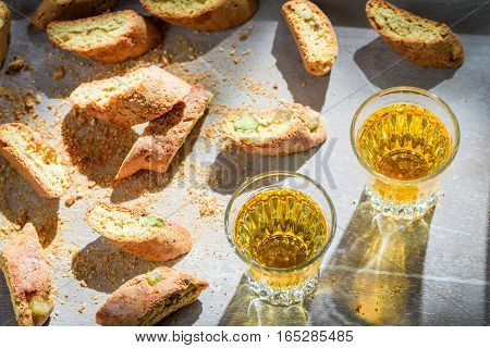 Italian Cantucci With Peanut And Sweet Wine