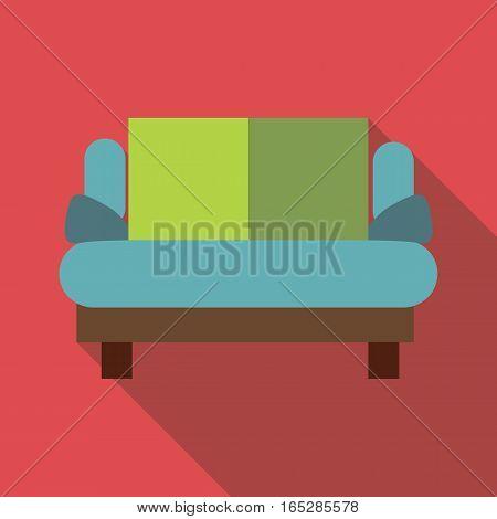 Small sofa icon. Flat illustration of small sofa vector icon for web