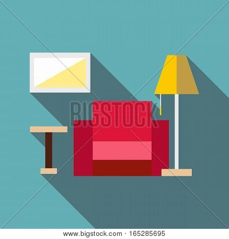Living room icon. Flat illustration of living room vector icon for web