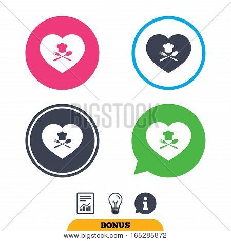 Chef hat sign icon. Love Cooking symbol. Cooks hat with fork and spoon. Report document, information sign and light bulb icons. Vector