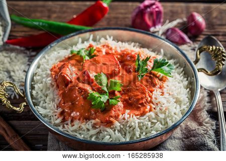 Spicy And Sweet Tikka Masala With Chicken In Tomato Sauce