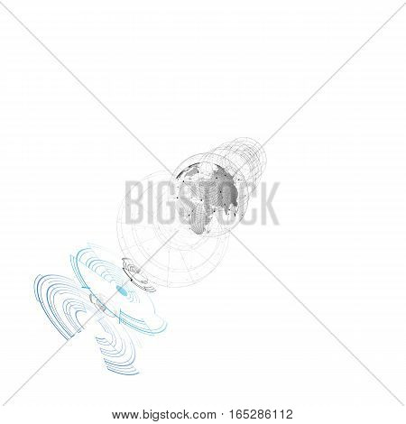 Dotted world globe, connecting lines, abstract construction, space station, orbit isolated on white. Futuristic high tech HUD background. Scientific vector design. Science, technology concept