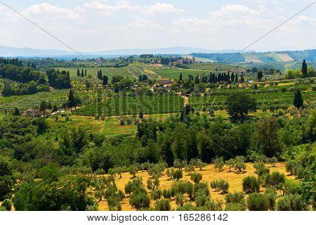 Tuscan landscape at San Gimignano Tuscany Italy