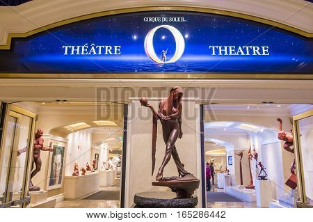 LAS VEGAS - OCT 04 : O theatre at the Bellagio hotel in Las Vegas on October 04 2016. O is a Cirque du Soleil stage production written and directed by Franco Dragone.