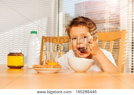 Adorable little boy eating corn flakes with milk and drinking orange juice in the kitchen