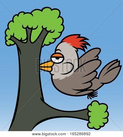 Woodpecker Pecking Tree Cartoon Animal Character. Vector Illustration.