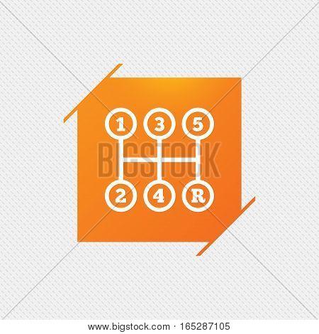Manual transmission sign icon. Automobile mechanic control symbol. Orange square label on pattern. Vector