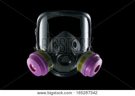 Full face dust mask isolated on black background