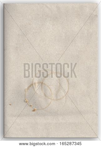 Kraft envelope with coffee stains and crumbs wallpaper