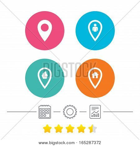 Map pointer icons. Home, food and user location symbols. Restaurant and cupcake signs. You are here. Calendar, cogwheel and report linear icons. Star vote ranking. Vector