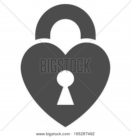 Heart Lock vector icon. Flat gray symbol. Pictogram is isolated on a white background. Designed for web and software interfaces.